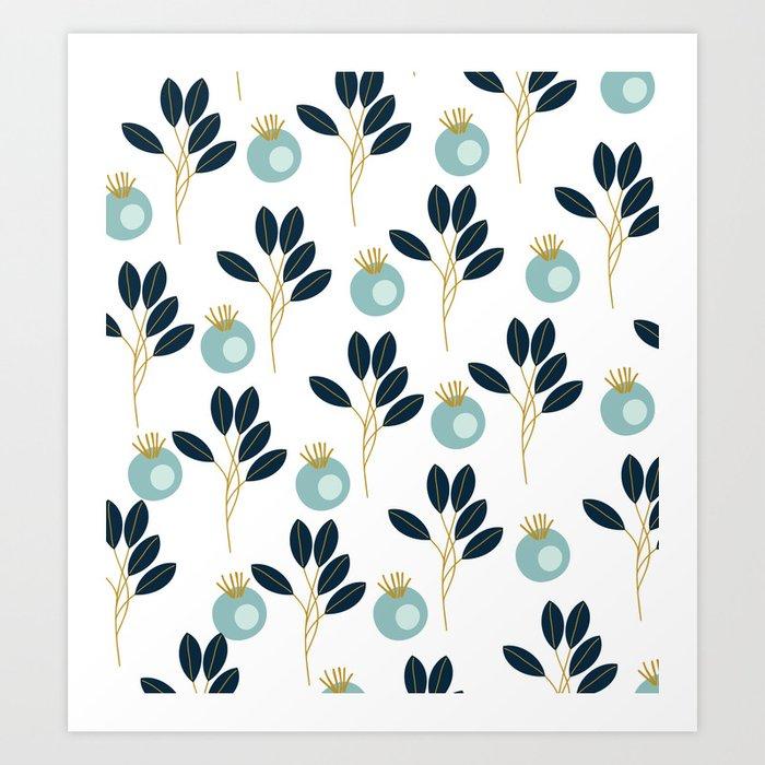 Blue Bold Floral Wallpaper Art Print