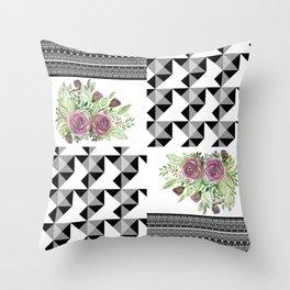 Rustic patchwork 5 Throw Pillow