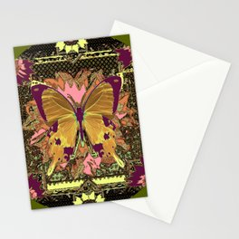Ornate Mauve Swallow Tailed Butterfly Yellow-Khaki Design Stationery Cards