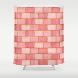 Blush Pink, Rose and Gold Watercolor Subway Tiles Shower Curtain