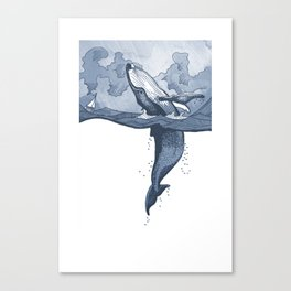 Hump Back Whale breaching in Stormy Seas with tiny boat - nautical themed illustration Canvas Print