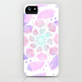 Spinning Feathers Mandala - Trippy Rainbow Dreamcatcher iPhone Case