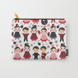 Seamless pattern spanish flamenco dancer. Kawaii cute face with pink cheeks and winking eyes. Carry-All Pouch