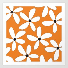Happy Flowers Orange Art Print
