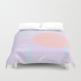 Memphis Summer Lavender Waves Duvet Cover