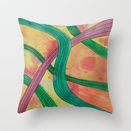 Pink and Green Strings Throw Pillow