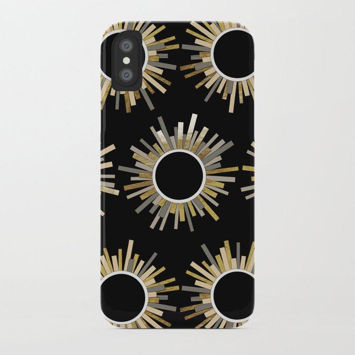 Art Deco Starburst in Black iPhone Case