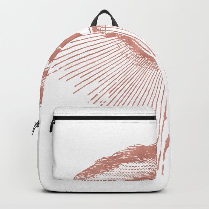 I see you. Rose Gold Pink Quartz on White Backpack