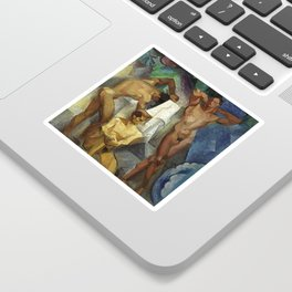 Young Bathers by George Pauli Nude Male Art Sticker