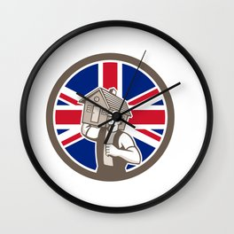 British House Removal Union Jack Flag Icon Wall Clock