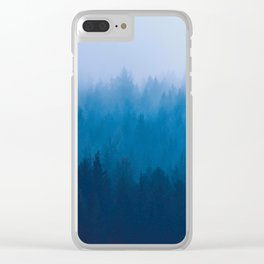 Blue Mountain Pine Trees Blue Ombre Gradient Colorful Landscape photo Clear iPhone Case