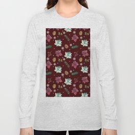 Colorful Christmas Red White Poinsettia Pine Cones Snowflakes Long Sleeve T-shirt