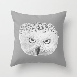 Snowy Owl Grey Throw Pillow