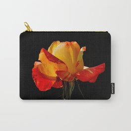 Vibrant Peachy Orange Rose Macro Carry-All Pouch