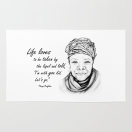 Maya Angelou Quote - Take Life by the Lapels - Art and Apparel Rug