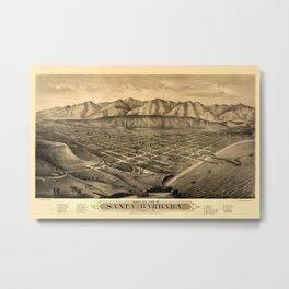 Map Of Santa Barbara 1877 Metal Print