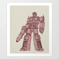 optimus prime Art Prints featuring Optimus Prime by Luke Spicer Illustration