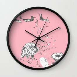 Two Tailed Duck and Jellyfish Baby Pink Deep Wall Clock