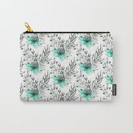 Modern turquoise gray watercolor flowers pattern Carry-All Pouch