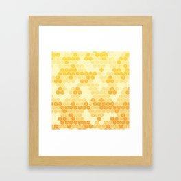 Honeycomb Yellow and Orange Geometric Pattern for Home Decor Framed Art Print