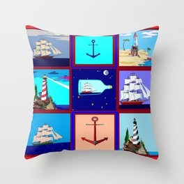 A Nautical Quilt with Ships, Lighthouses and Anchors Throw Pillow