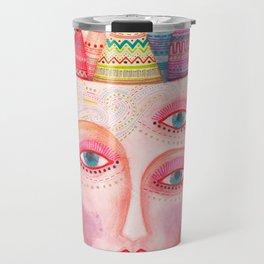 girl with the most beautiful eyes mask portrait Travel Mug