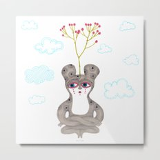 lonely cute creature with rose bush Metal Print