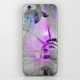 Statue of  Liberty pink mixed media art iPhone Skin