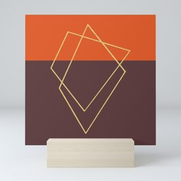Orange wine gold abstract geometric print Mini Art Print