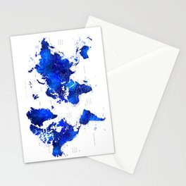 "Navy blue and cobalt blue watercolor world map with cities labelled, ""Carlynn"" Stationery Cards"