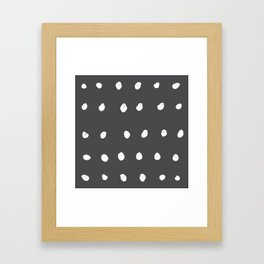 Dots - Grey and White Framed Art Print