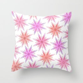 Modern Hand Painted Gold Watercolor Pink Lilac Floral Throw Pillow