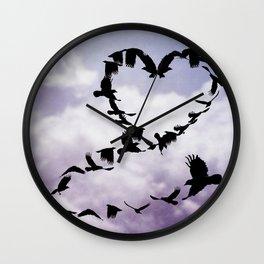 Heart of Crows Black Bird Raven Blue A276 Wall Clock