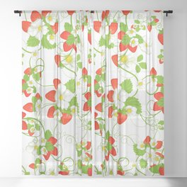 Summer Strawberries Sheer Curtain