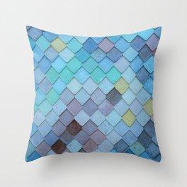 Blue Tiles (Color) Throw Pillow