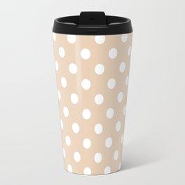 Small Polka Dots - White on Pastel Brown Travel Mug