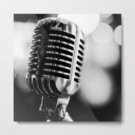microphone music aesthetic close up elegant mood art photography  Metal Print