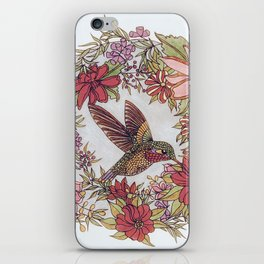 Hummingbird In Flowery Garden Wreath iPhone Skin