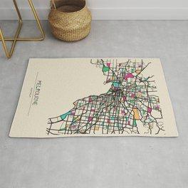 Colorful City Maps: Melbourne, Australia Rug