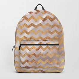 Elegant chic faux gold chevron marble pattern Backpack