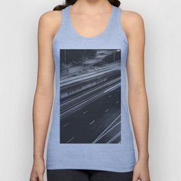 Seattle at Night - Black and White Unisex Tank Top