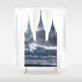 Salt Lake Temple Dramatic Sky Silhouette Shower Curtain