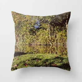 Autumn Oxford Canal Reflections Throw Pillow
