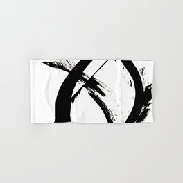 Brushstroke 7: a minimal, abstract, black and white piece Hand & Bath Towel