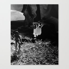 Future Man Brings Aid Canvas Print
