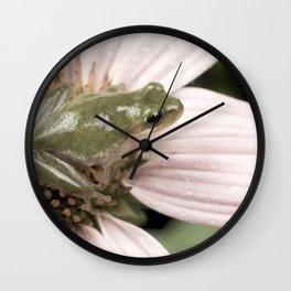 Treefrog on flower Wall Clock
