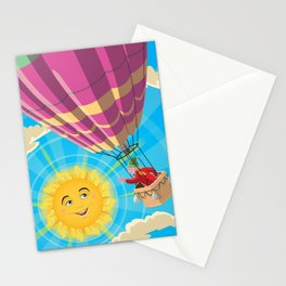 Girl in a balloon greeting a happy sun Stationery Cards