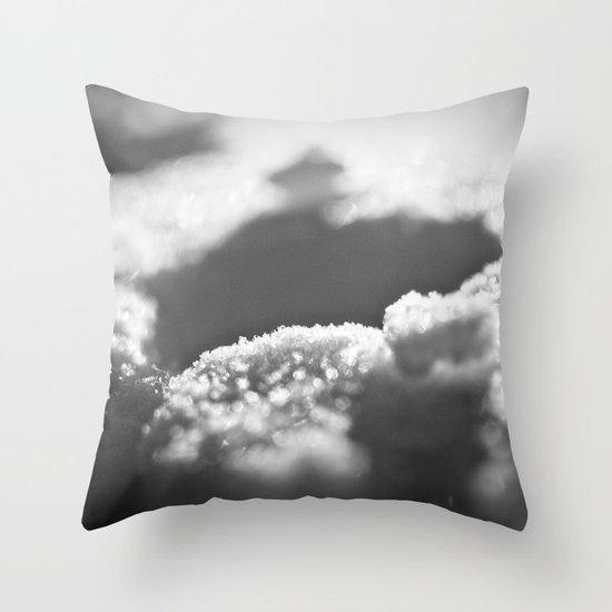 Snow Black and White Throw Pillow