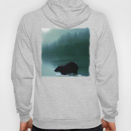 Stepping Into The Moonlight - Black Bear and Moonlit Lake Hoody