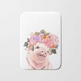 Lovely Baby Pig with Flowers Crown Bath Mat
